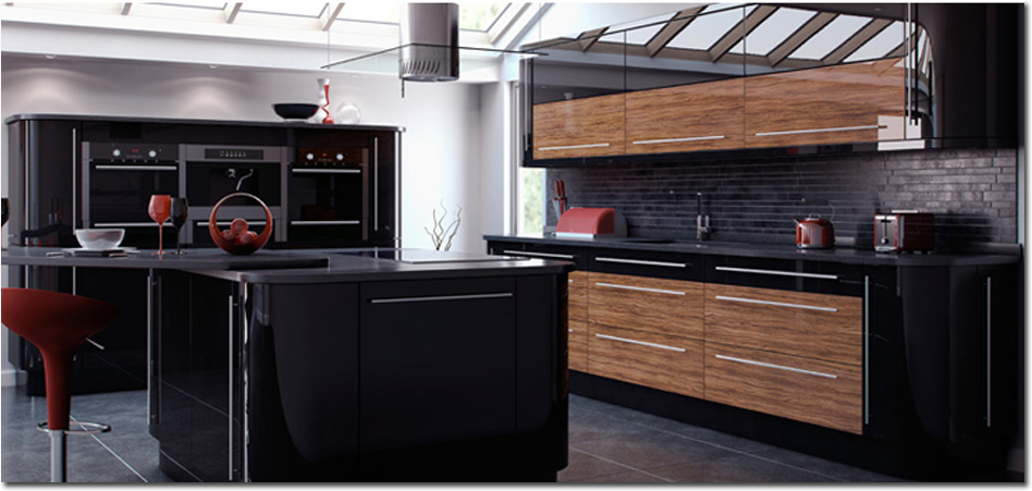 Reflections Walnut And Black Fitted Kitchen